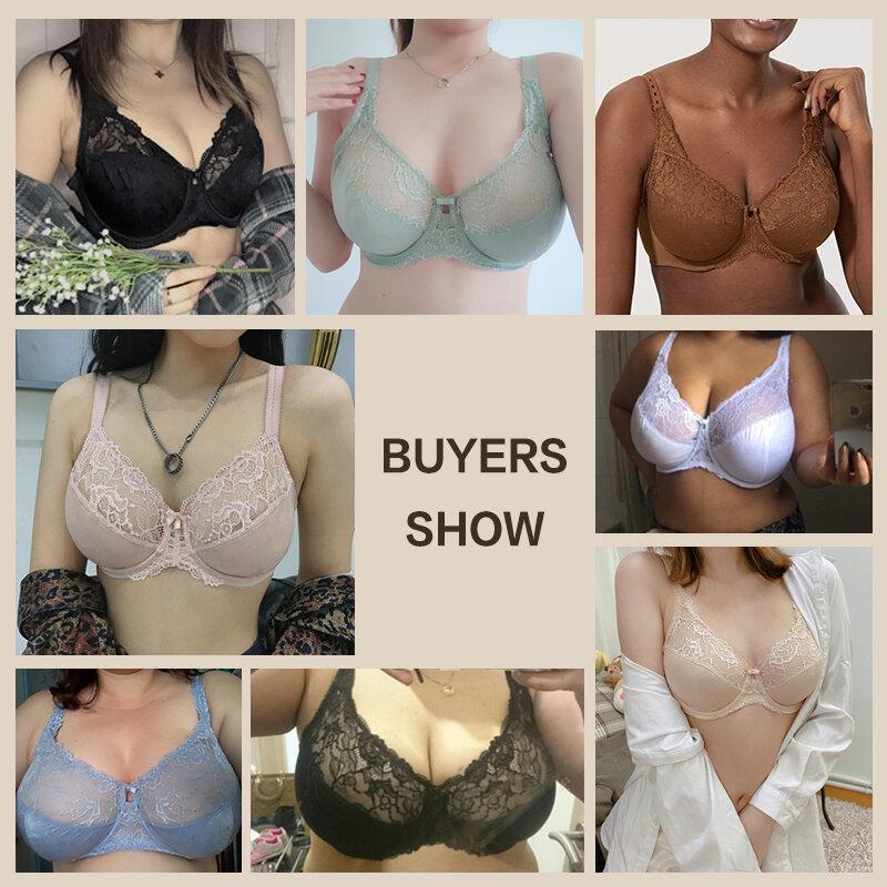 Women 'S Full Coverage Jacquard Non เบาะลูกไม้ Sheer Underwire Plus ขนาด Bra 34-44 DD E F G H