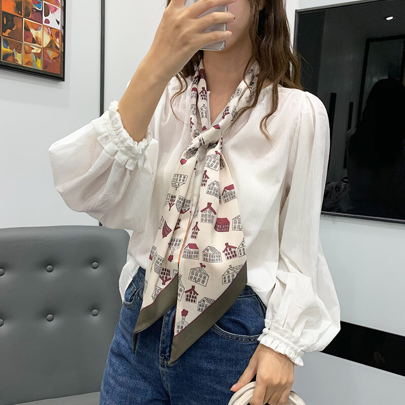 New in Spring and Autumn Women's Chiffon Simple Printed Korean Style Thin Hair Band Arm Bag Strip Scarf All-Match Fashion Scarf