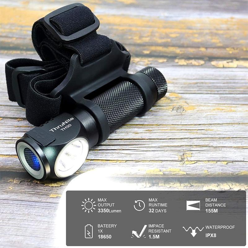 ThruNite TH30 Scheinwerfer 3350 Lumen 3100mAh 18650 USB Aufladbare Scheinwerfer Super Helle Taschenlampe Multifunktionale Verwenden Original