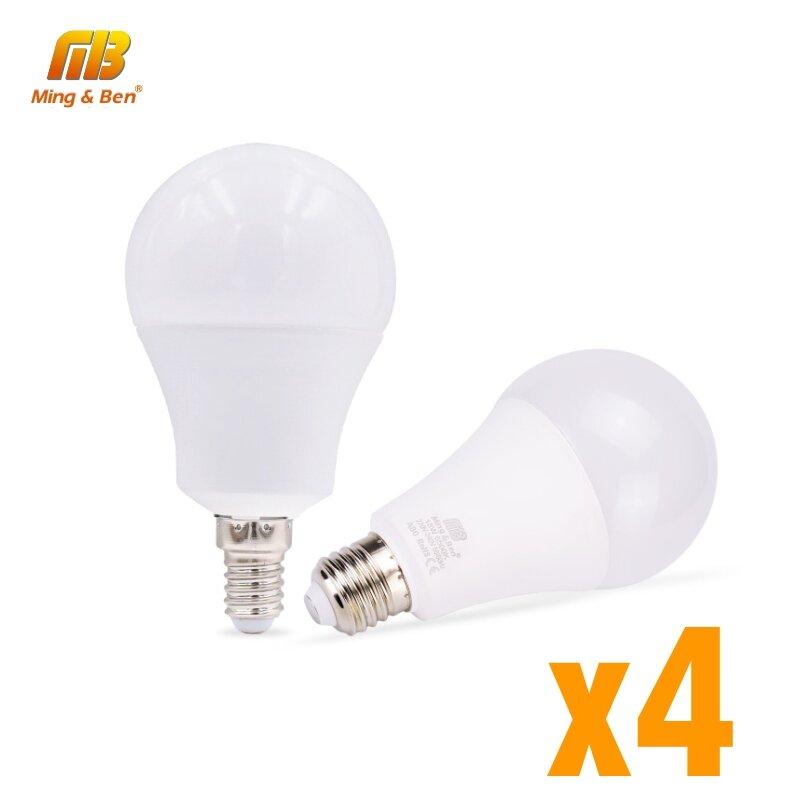 Lampes LED, lot de 4 couleur chaudes ou froides haute luminosité pour chambre à coucher ou salon, E27, E14, 220 V, ampoules disponible de 5 W, 7 W, 9 W, 15W et 18 W, 4 pièces/lot
