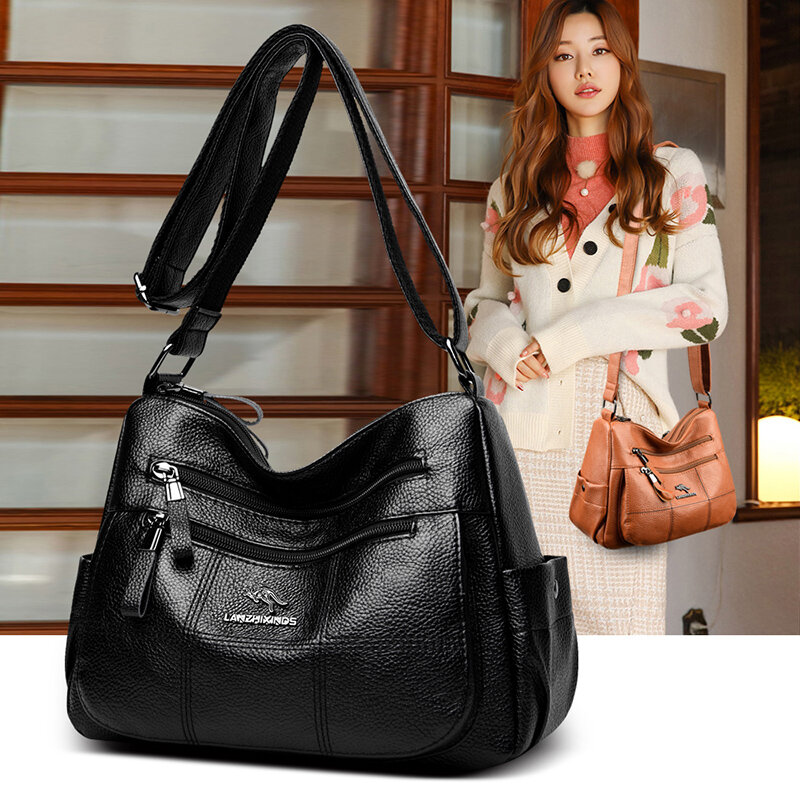 OLSITTI High Quality Pu Leather Shoulder Bags for Women 2021 New Multiple Zippers Designer Fashion Solid Color Crossbody Bags