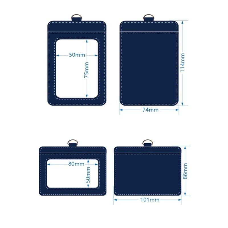 ID 배지 홀더, 투명한 ID 창 1 개, 신용 카드 슬롯 1 개, 분리형 목 끈이 있는 수직 PU 가죽 ID 배지 홀더