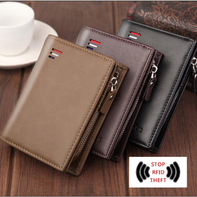 남자 PU 가죽 짧은 지갑 지퍼 동전 주머니 빈티지 큰 용량 남성 짧은 돈 지갑 카드 홀더 새로운