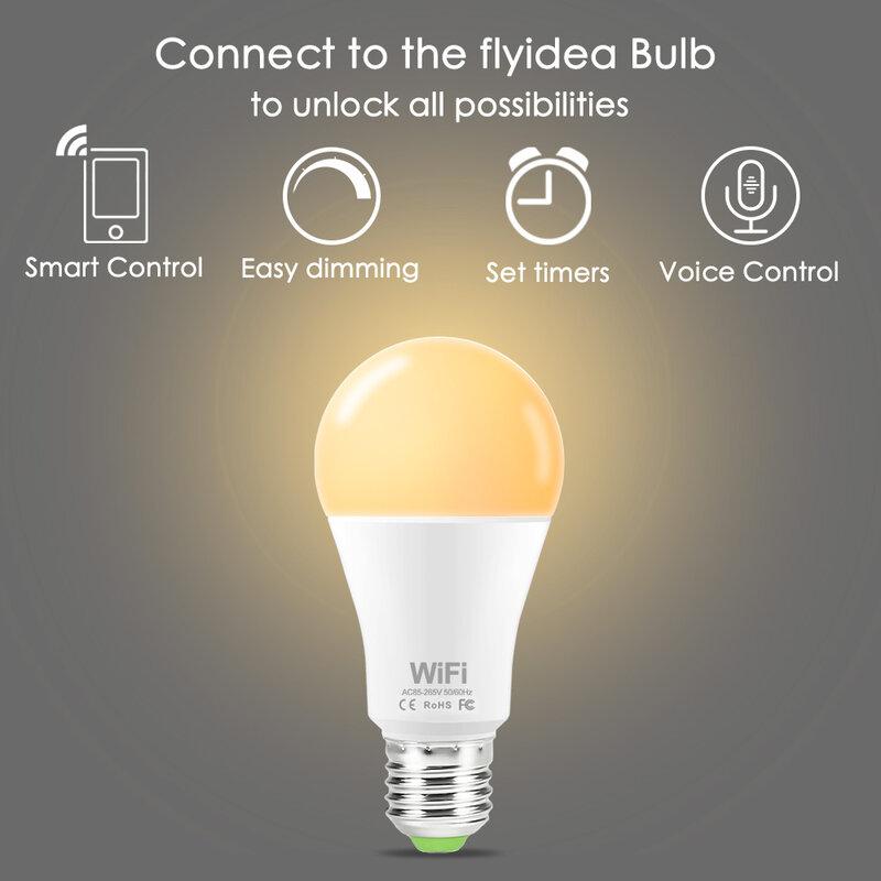 디 밍이 가능한 15W B22 E27 WiFi 스마트 전구 LED 램프 App 작동 Alexa Google Assistant Control 스마트 램프 야간 조명