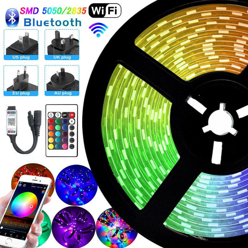 Tiras Led luz SMD 5050 2835 5M 10M 15M 20M DC 12V impermeable RGB lámpara de luz LED cinta a rayas IR Bluetooth Wifi Control