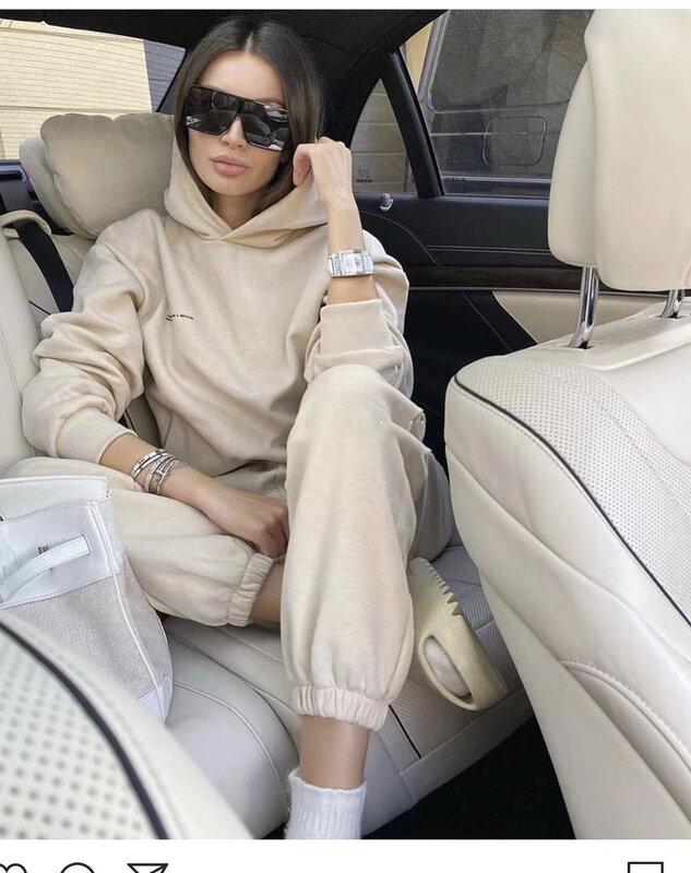 2021 nuevo invierno ropa de las mujeres, además de terciopelo cálido 2 de dos piezas conjunto de deportes con capucha pantalones de suéter de traje Casual pantalones conjunto
