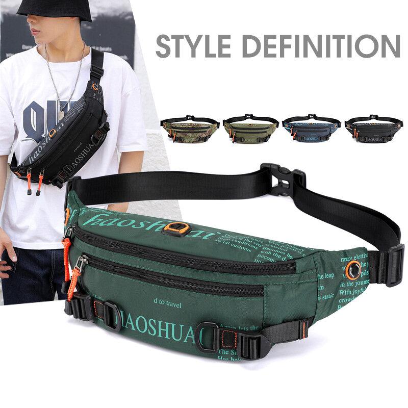 Hip Hop Bum Bags Men's Fanny Pack Street Fashion Chest Crossbody Bag Sports Running Waist Belt Bag NINDOT Men's Waist Bag