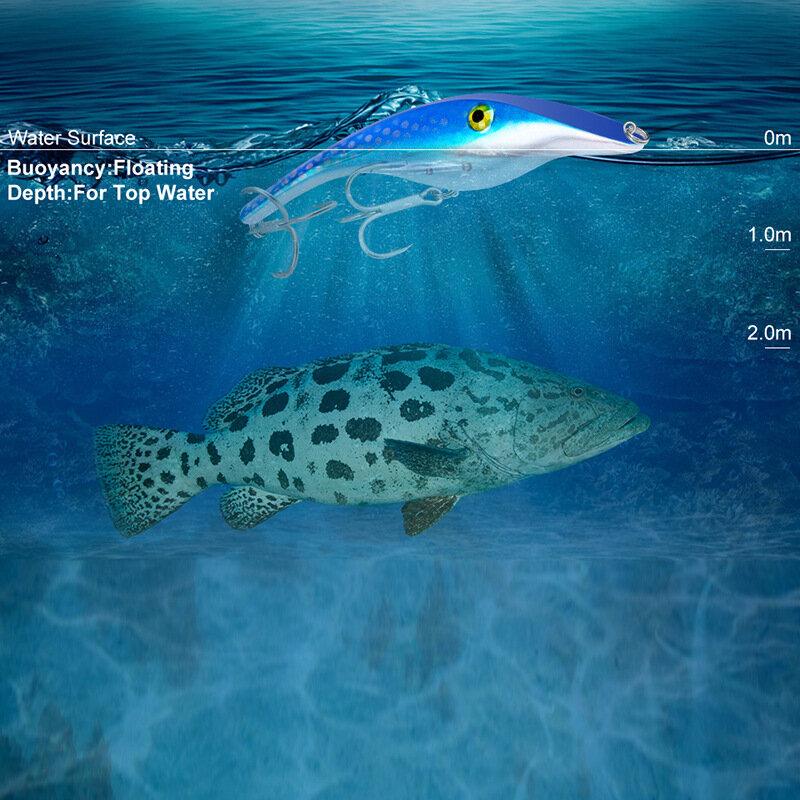 8PCS ดินสอ Wobbler ตกปลาเหยื่อ Crankbait 44G/14.5ซม.ตกปลาทะเลเหยื่อประดิษฐ์ Minnow Hard เหยื่อ2 # Hook Bass Tackle