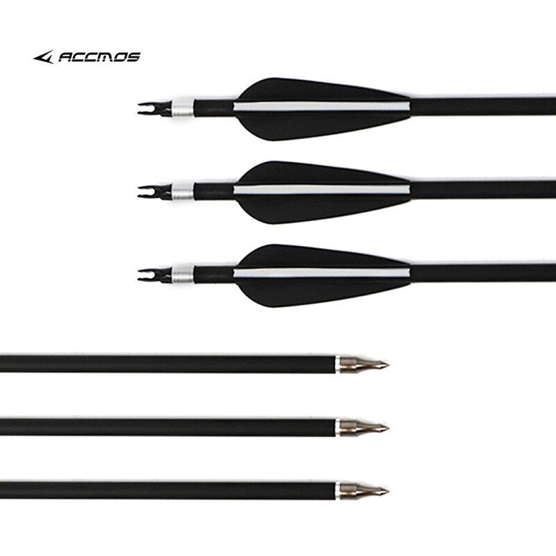 """12Pcs 31.5 """"spina dorsale 500 freccia in carbonio OD 7.8mm con anello a prova di freccia variabile per caccia con arco composto/ricurvo da 30-80 libbre"""