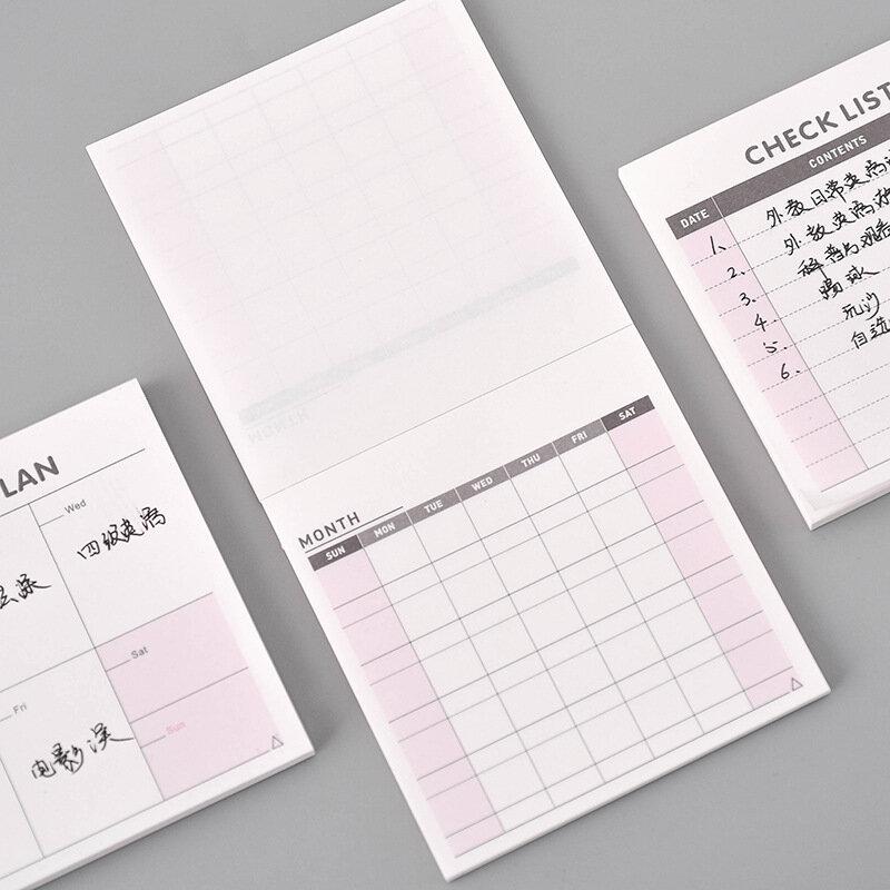 مخطط عمل أسبوعي لطيف Kawaii ، دفتر ملاحظات ، جدول أعمال ، مستلزمات مدرسية للأطفال ، مخطط إدارة الوقت