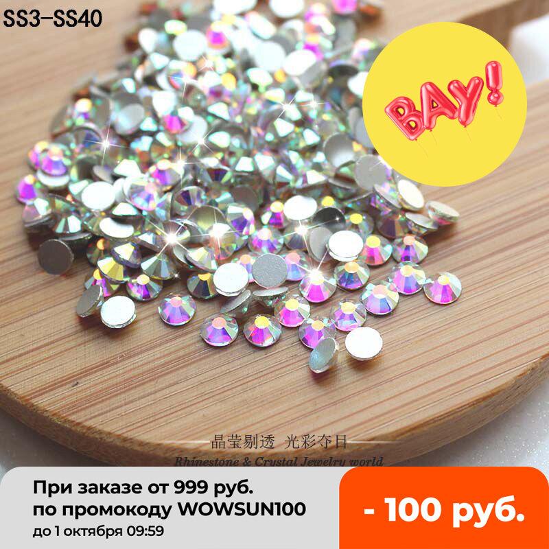 QIAO Glitter Rhinestones คริสตัล AB SS3-SS50 Non Hot Fix FlatBack Strass เย็บผ้าการ์เม้นท์ Rhinestone Nail Art หิน