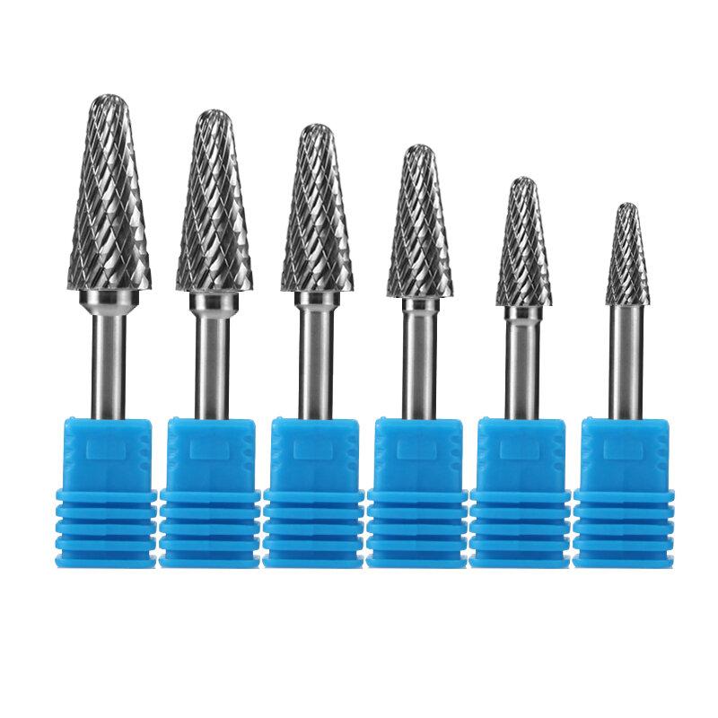 Lima rotativa de metal duro tipo LX, cabezal de rebaba rotativa de carburo de tungsteno, herramientas de mano rotativa, limas de cola de rata para madera