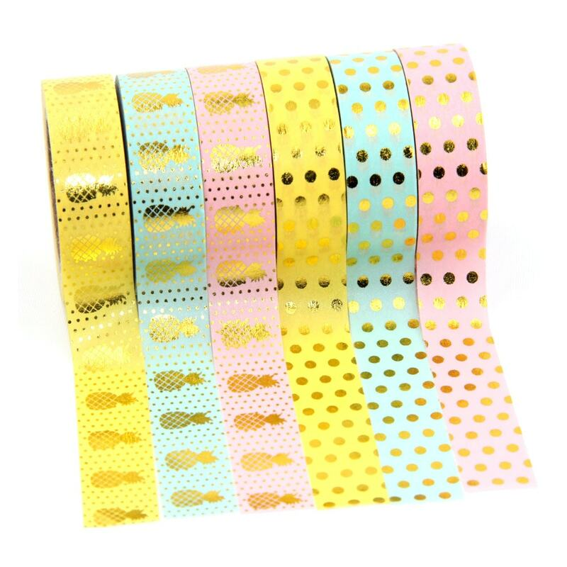 Neue 1X 15mm Gold Stanzen Ananas Obst Japanischen Washi Band Scrapbooking Werkzeuge Papelaria Dekorative Masking Band Lot 15mm * 10m