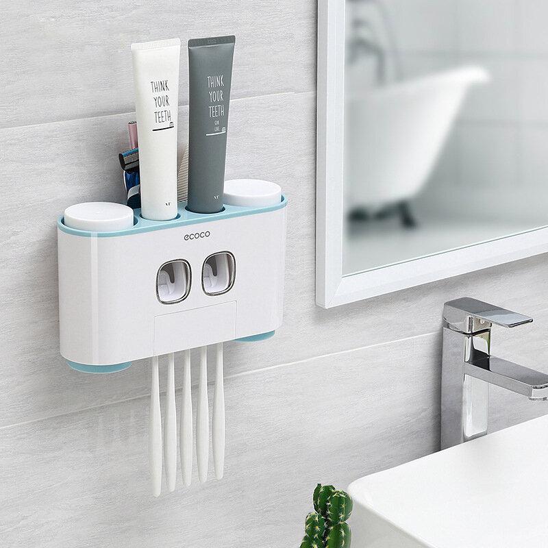 욕실 치약 압착기 벽걸이 형 자동 치약 디스펜서 4 칫솔 홀더 욕실 액세서리 세척 세트