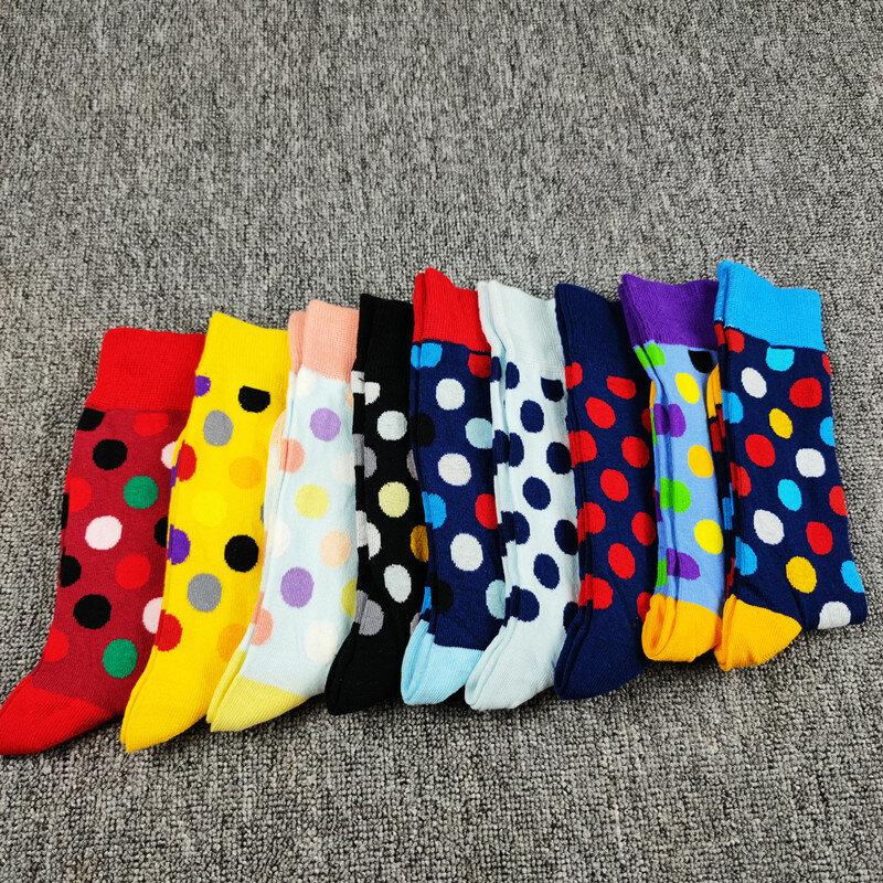 5 par damskich wysokich rur wzór w kropki bawełniane skarpetki na co dzień skarpety domowe