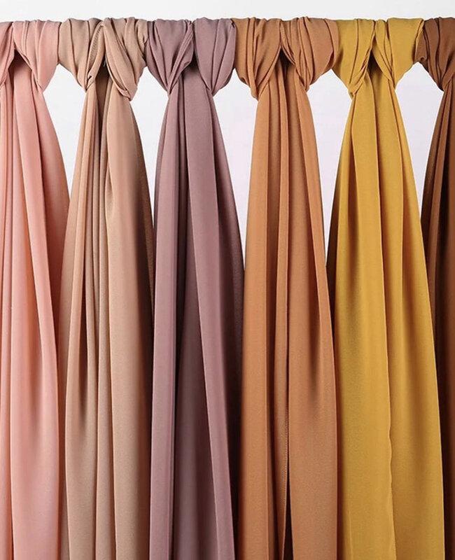 Las mujeres claro burbuja de gasa pañuelo hijab de color sólido impreso diademas de chales hiyabs para mujer bufandas/bufanda 60 colores
