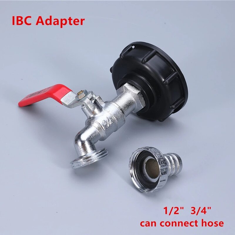 내구성 IBC 탱크 탭 어댑터 S60 * 6 거친 스레드에서 1/2 ''3/4'' 워터 커넥터 교체 밸브 피팅