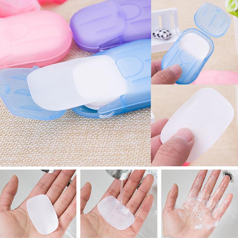 20 개/상자 여행 휴대용 소독 종이 비누 세척 손 미니 일회용 향기로운 슬라이스 시트 포밍 비누 종이