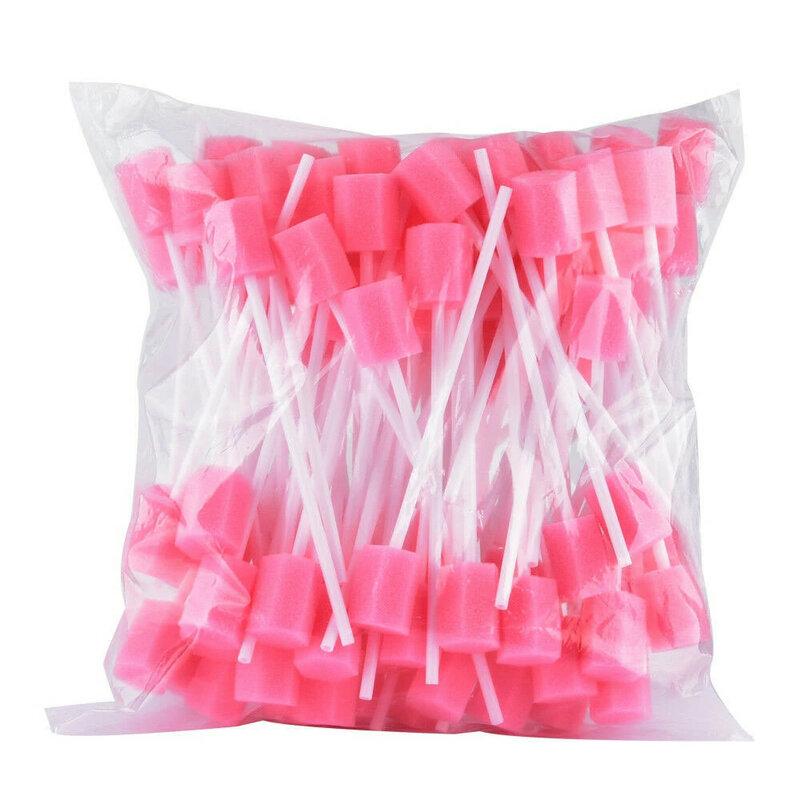 100 stücke Einweg Oral Pflege Schwamm Tupfer Zahn Reinigung Mund Tupfer Mit Stick Schwamm Kopf Reinigung Reiniger Tupfer