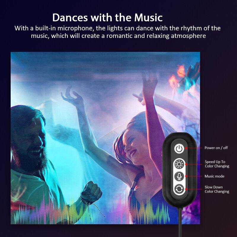 Suntech-LED 조명 스트립, 블루투스 음악 동기화 색상 유연한 RGB 5050 다이오드 테이프, 파티, 크리스마스용 Led 조명 내장 마이크