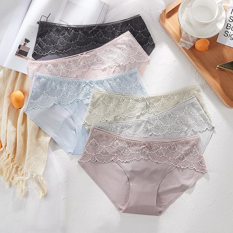 แฟชั่นลูกไม้ชุดชั้นในเซ็กซี่กางเกงสีทึบที่มองไม่เห็นชุดชั้นใน Intimate หญิง Breathable Seamless Panty