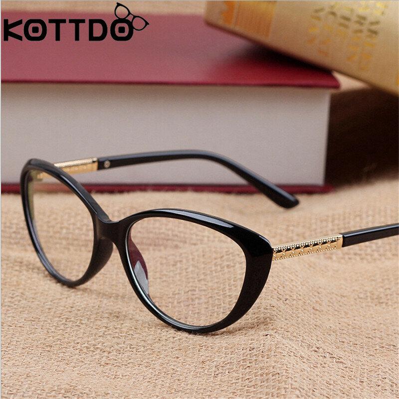 KOTTDO Retro Cat Eye แว่นตากรอบแว่นตาแว่นตากรอบแว่นตาผู้ชาย Oculos De Grau Feminino Armação
