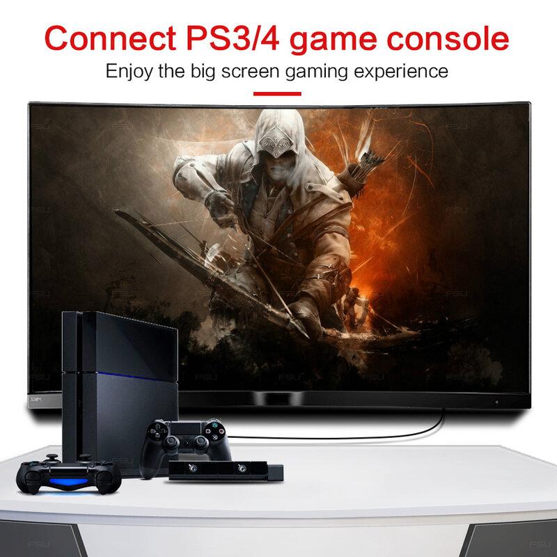 FSU-كابل توصيل HDMI متوافق مع HDMI ، مطلي بالذهب ، 1080 بكسل ، كابل HDMI رقمي ، متوافق مع الكمبيوتر ، التلفزيون ، 1 م ، 3 م ، 5 م