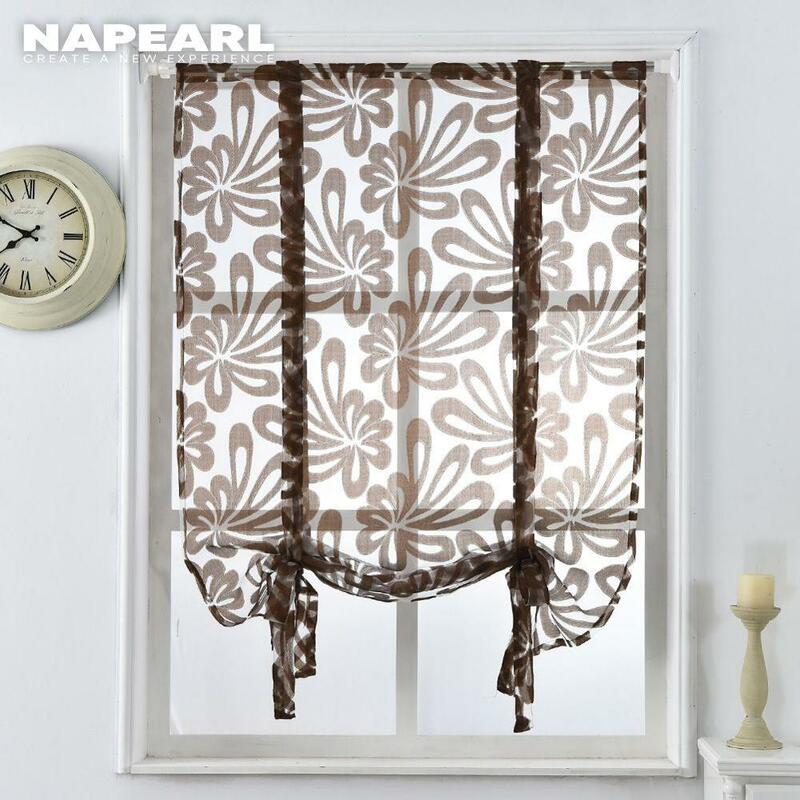 ห้องครัวสั้นผ้าม่านjacquardผ้าม่านโรมันดอกไม้สีขาวSHEERแผงBlue Tulle windowผ้าม่านHome Decor