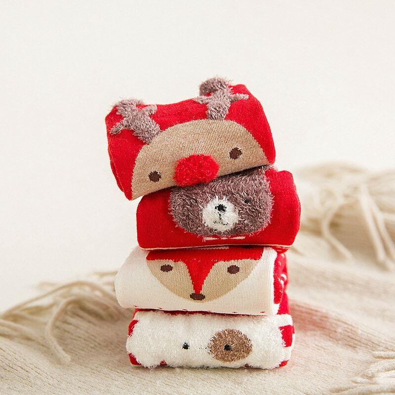 المرأة عيد الميلاد الجوارب الخريف والشتاء الأحمر ثلاثية الأبعاد الكرتون عيد الميلاد الجوارب جميل اليابانية الأيائل المرأة الأوسط جوارب أنب...