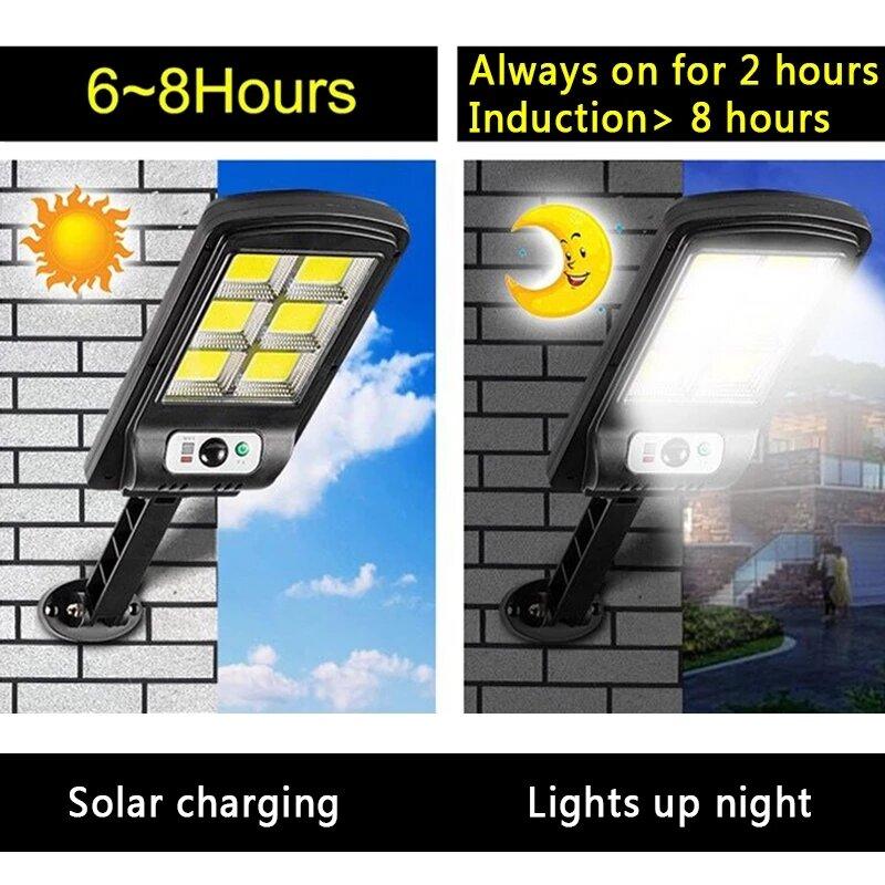 원격 제어 COB 태양 광 모션 센서 스마트 원격 제어 빛 정원 벽 야외 태양 거리 빛 방수