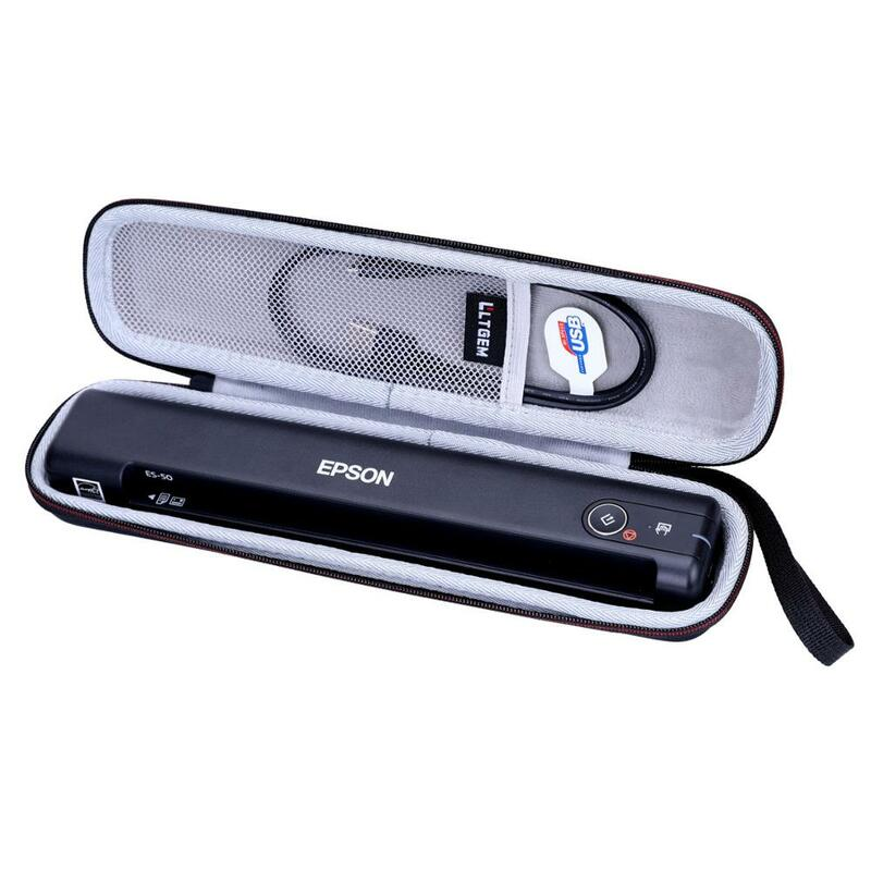 LTGEM EVA 하드 케이스 Epson Workforce ES-50 PC 및 MAC 용 휴대용 시트 공급 문서 스캐너