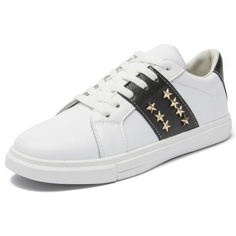 AIYUQI-zapatillas de deporte de piel auténtica para mujer, zapatos blancos con cordones, para correr, zapatos informales para estudiante, novedad de 2021