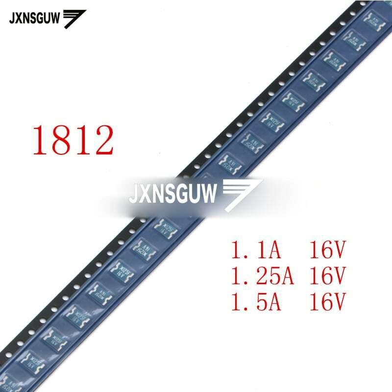 1812 자가 복구 퓨즈 1.1A/1.25A/1.5A 16V SMD 리셋 가능 퓨즈 PPTC, 20 개