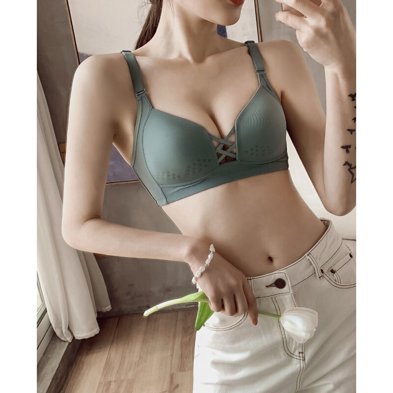 Beauty Back Bra Push up Sexy Small Breast Size Exaggerating Bra Pull B Underwear Women's Wireless Breathable Upper Support