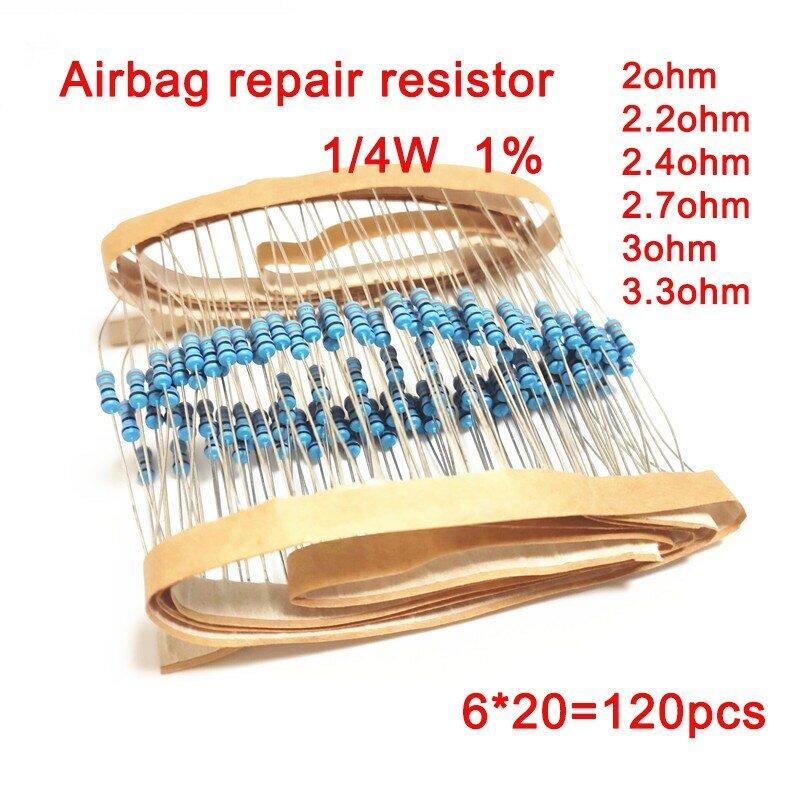 Resistencia de película de metal para reparación de Airbag de coche, 1/4W, 1%, 2ohm, 2,2 ohm, 2,4 ohm, 2,7 ohm, 3ohm, 3,3 ohm, 6 tipos de kit electrónico