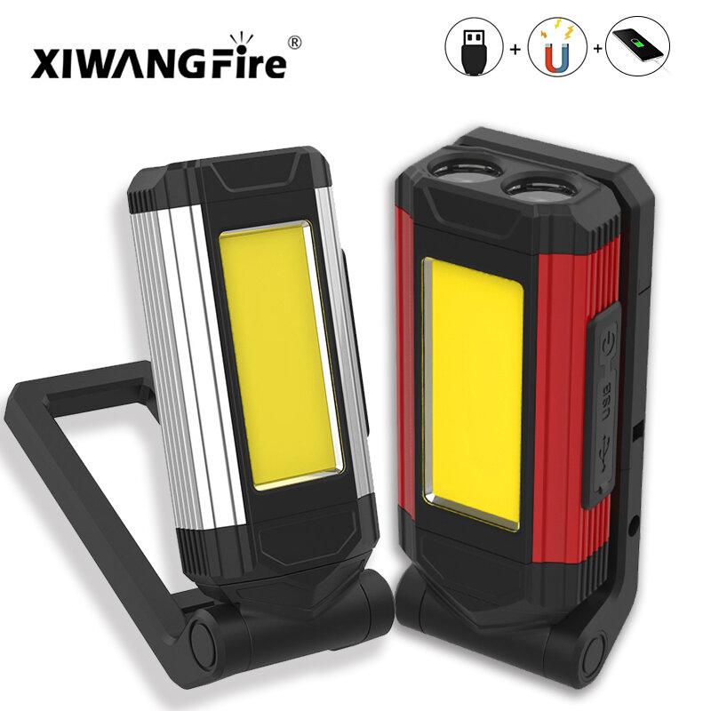 USB Aufladbare Laterne als power bank 2 stücke COB Arbeit Licht mit Magnet 3200mah LED Taschenlampe Camping Lampe IPX6 waterpoof Taschenlampe