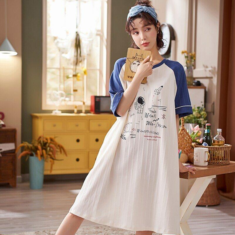 ATUENDO ฤดูร้อนเกาหลี Kawaii Nightgowns สำหรับผู้หญิงแฟชั่น Atoff บ้านซาติน Nightdress ยาว100% ผ้าฝ้าย PJS น่ารักผ้าไหมชุดน...