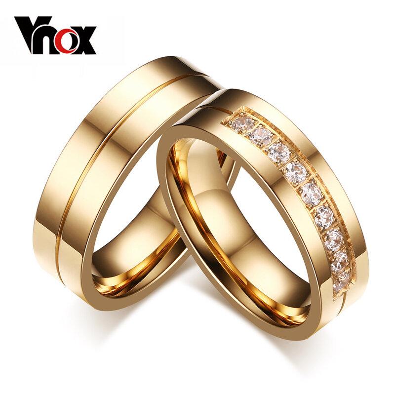 Vnox العصرية خاتم خواتم للنساء/رجال الحب الذهب اللون المقاوم للصدأ تشيكوسلوفاكيا وعد مجوهرات