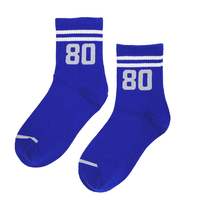 Sport Adult Ankle Short Calf Crew Socks Digital Number Two Twenty Three Thirty Seven Fifty Six Eighty Double Stripe Stripes Game