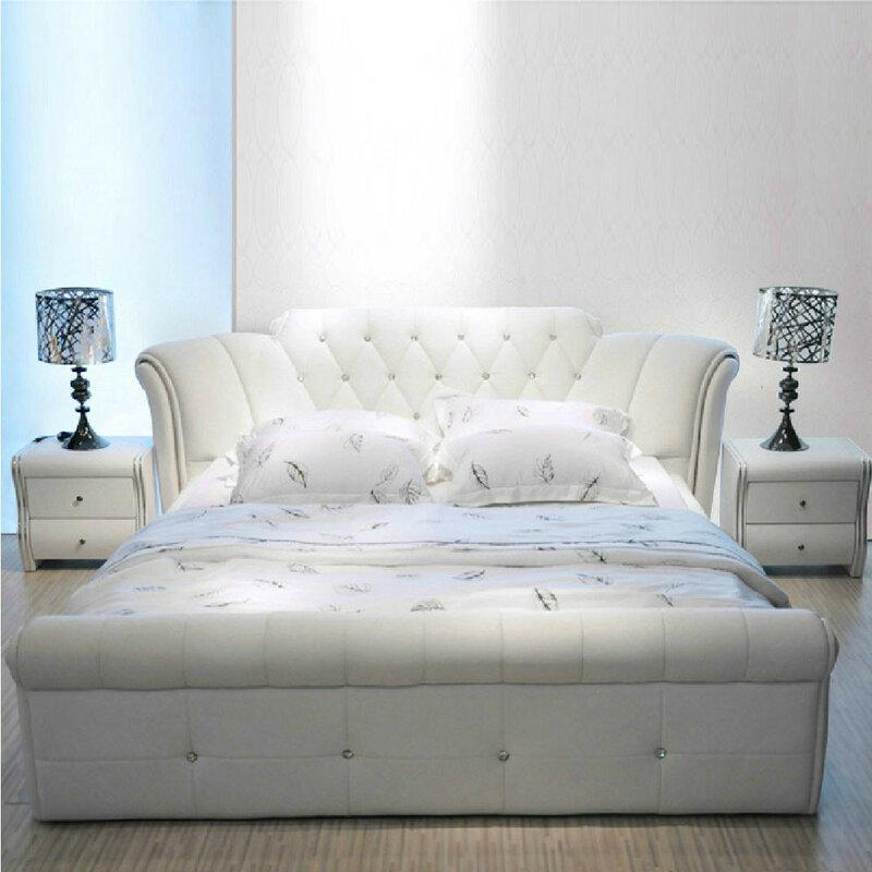 Letto europeo bianco del cuoio di 1.5 m 1.8 m per la camera da letto # CE-095