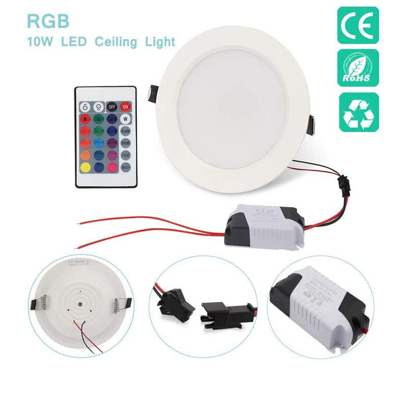 Foco LED inteligente regulable, plafón redondo de techo empotrado, lámpara de techo de 220V con cambio de Color RGB, 5W y 10W