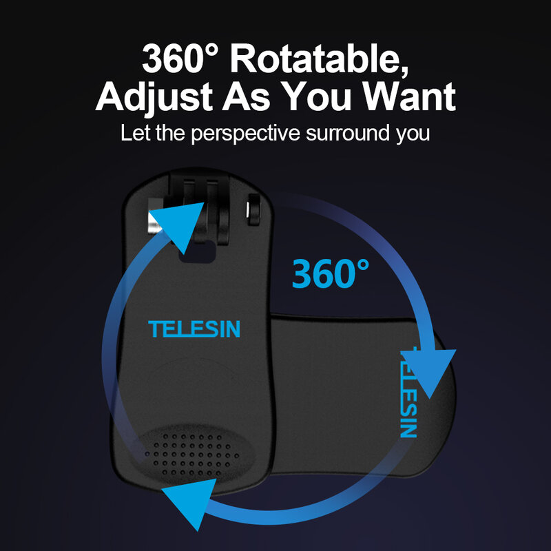 TELESIN-حقيبة ظهر دوارة ، 360 بوصة ، حامل قبعة سريع ، لـ GoPro Hero 8 7 6 5 لـ Xiaomi Yi Osmo Action