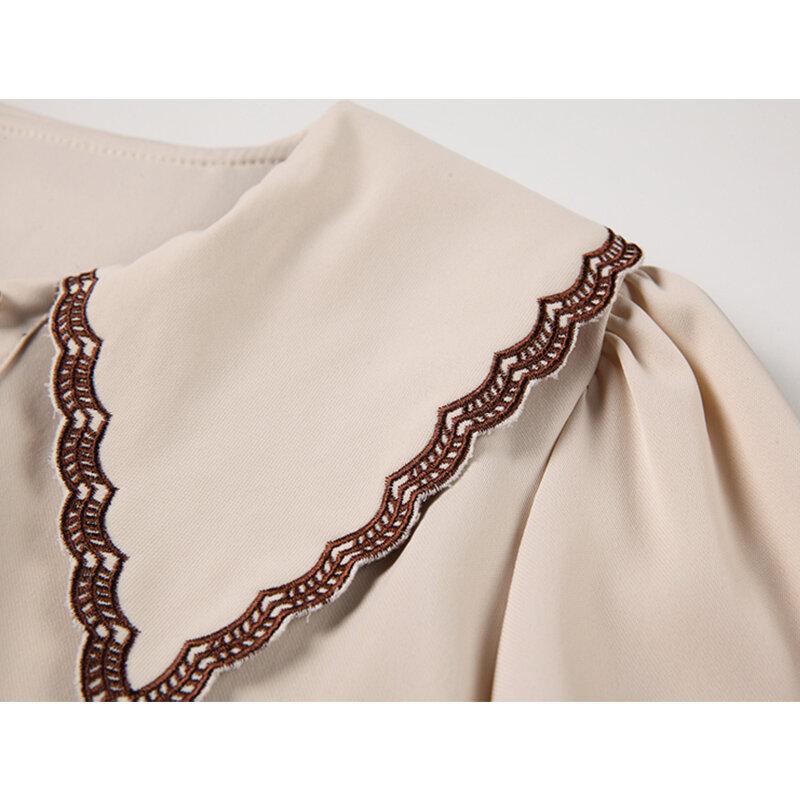 خريف 2021 قميص شيفون جديد طويل الاكمام بلون بيتر بان طوق النمط الكوري البساطة بلوزة انيقة غير رسمية للنساء