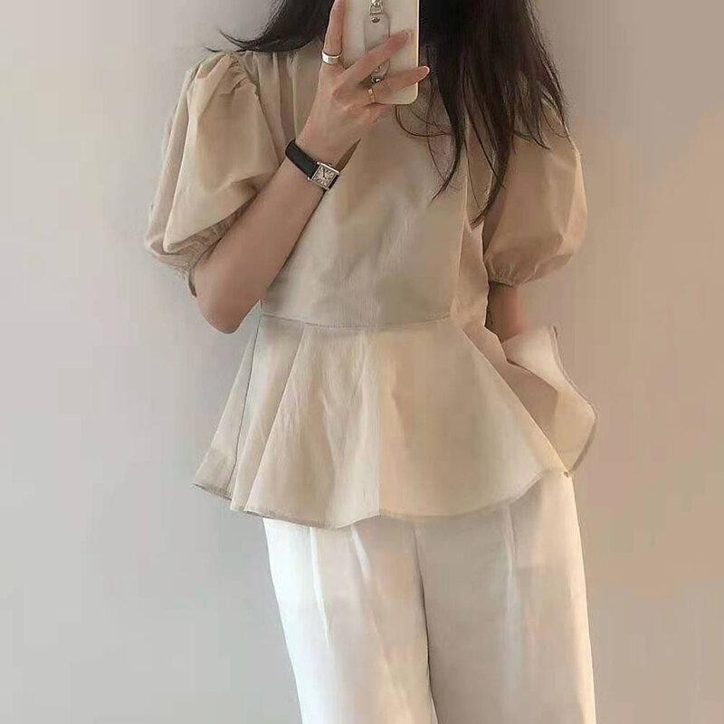Blusa informal holgada con manga abombada y escote en V para verano, camisa de estilo japonés para mujer, Color liso, cintura alta, 2021