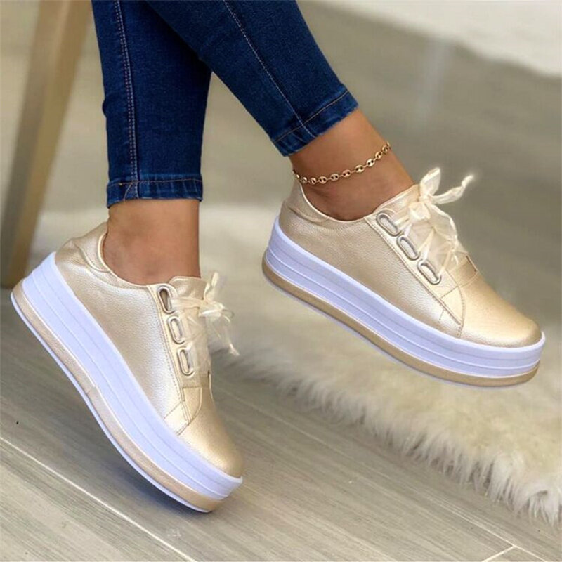 Women's Sports Shoes Outdoor Casual Shoes Fashion Platform Soft-soled Skateboard Shoes Autumn New Thick-soled Women's Shoes