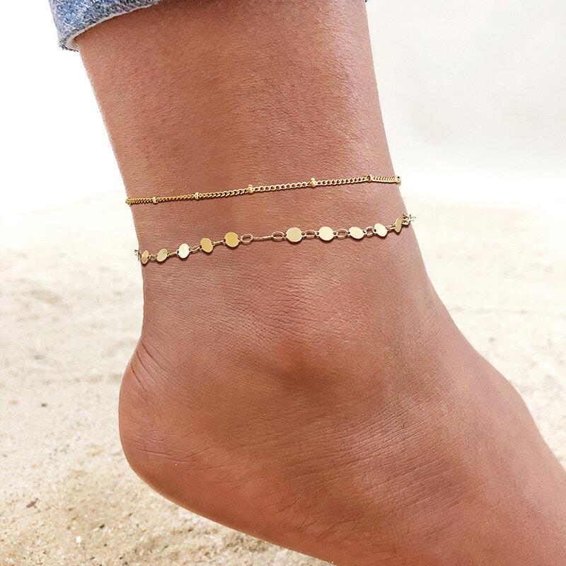 الفولاذ المقاوم للصدأ سلسلة خلخال للنساء الفتيات متعدد الطبقات شاطئ الكاحل سوار القدم ربط سلاسل Adjsutable