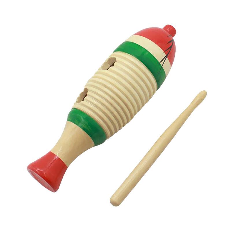 Holz Fisch-Förmigen Guiro Hand Percussion Mit Stick Für Kid Musical Spielzeug