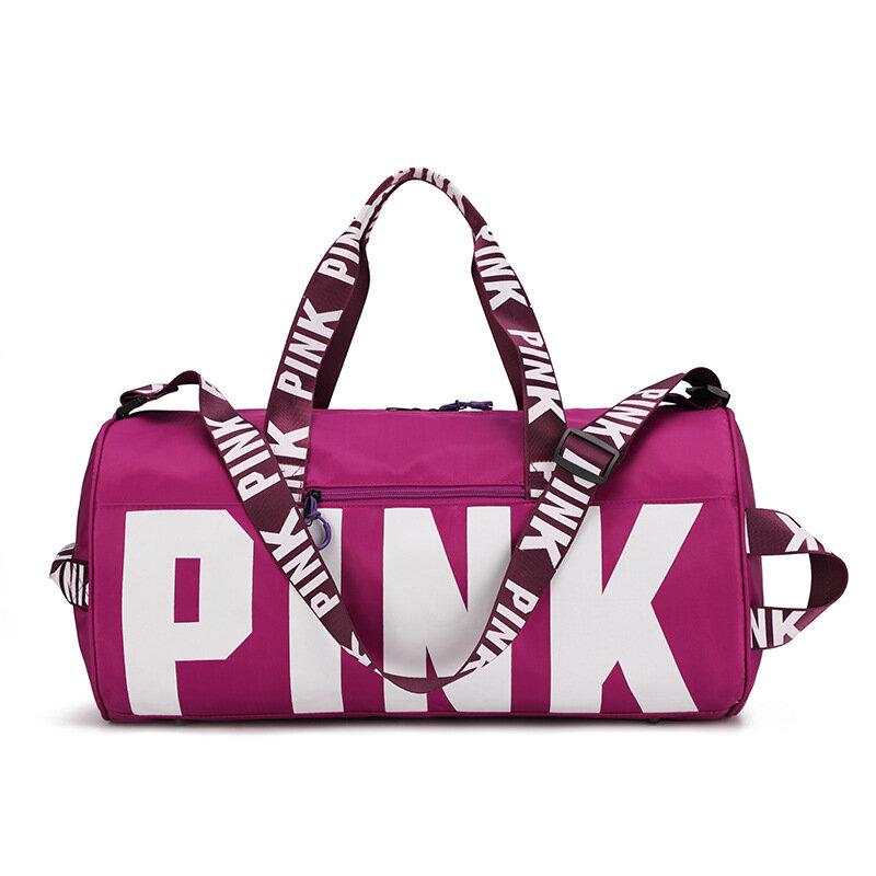 여자 핑크 여행 가방 여성 피트 니스 훈련 더플 백 여행 대용량 방수 체육관 스포츠 가방
