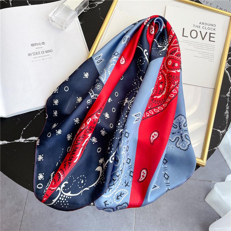 Bufanda de seda nueva para el cabello para mujer, chal cuadrado, bolso de satén, pañuelo para la cabeza, pañuelo femenino