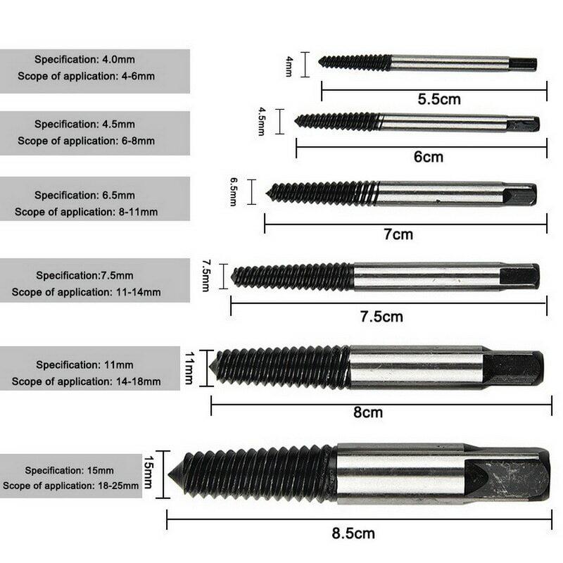 5 unids/set Juego de extractores de tornillo dañado tornillo de la herramientas de eliminación con caja de almacenamiento tornillos de la herramienta de eliminación de herramienta perno removedor